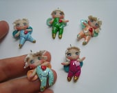 5 Little Fairies - ooak,chibi,charms,pendant,hanging decor,miniature,ooak,clay,fantasy,doll