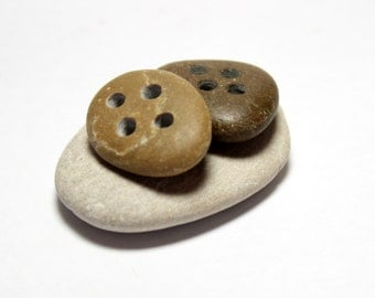 Drilled Beach Stone BUTTON : Natural Stones with Four Holes - River Rocks Button Pebbles Drilled Sewing, Knitting, Craft Finding's Supplies