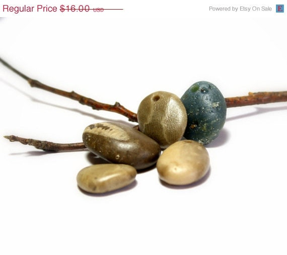 """SALE Seaglass Fossil Stone Beads- Artisan Hand Made Jewelry Supplies- Blue Sea Slag Glass  Petoskey Supplies- """"Antrim"""" by Allybeans"""