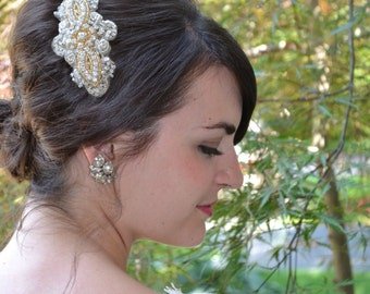 Pale Gold Bridal Headpiece Embroidered  with Gold and Silver Beads, Sequins, and Rhinestones by Jill's Boutique