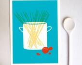 Kitchen Art Print  - Spaghetti  - Simple Italian Kitchen Art - Minimalist Illustration -  high quality fine art print
