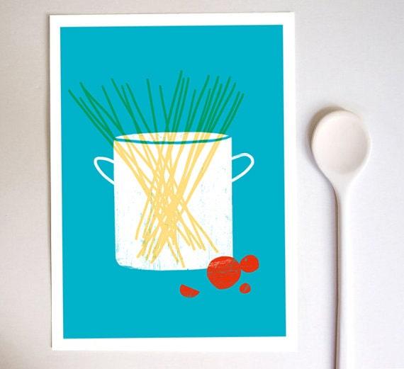Kitchen art print spaghetti simple italian kitchen art for Italian kitchen prints