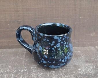 Obsidian Black - Handpainted Ceramic Coffee Mug - Speckled Glaze - OOAK - Sale