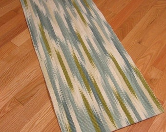 Small Wool Area Rug, Hand Woven Rug Runner, Blue White & Green Hand Dyed Ikat