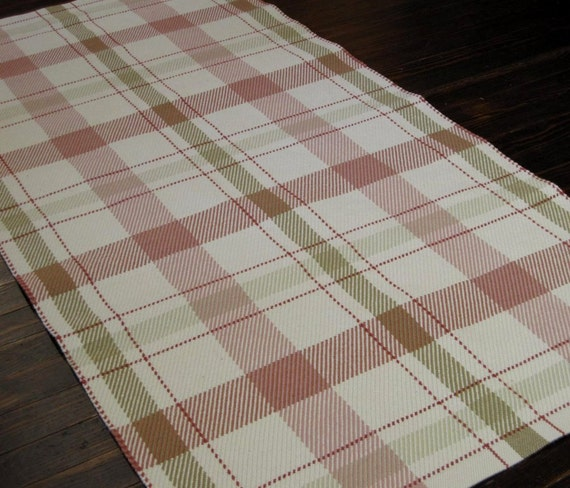 Plaid Rug Hand Woven Rug Runner Wool Area Rug Cream Beige