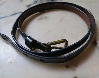 Vintage Skinny Leather BELT 1940s Dark Blue