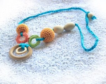 Colorful Organic Nursing Necklace, Teething Necklace, Necklace for Nursing Mom, Hand Crochet Organic Teether, MADE TO ORDER