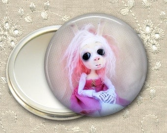 gothic doll pocket mirror,    hand mirror, mirror for purse, gift for her,  bridesmaid gift, stocking stuffer MIR-AD54