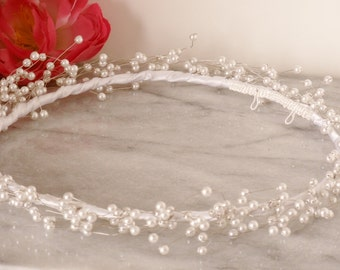 White Pearl Spray Baby's Breath Airy Bridal Wreath Tiara Headpiece Wedding Hair Piece Hair Vine Handmade