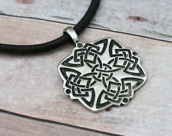 Leather Surfer Necklace With Celtic Knots Pewter Pendant Distressed Cord