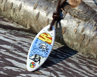 Leather Surfer Necklace With Ceramic Beach Romance Surfboard Beach Jewelry
