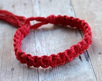 Surfer Macrame Hemp Bracelet Red Woven Knot Friendship Bracelets