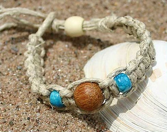 Handmade Surfer Phatty Thick Hemp Bracelet or Anklet With Wood Beads