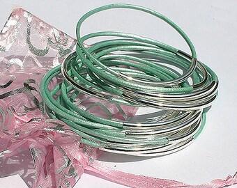 10 Leather Bangles Bracelets Oasis Turquoise Leather - FREE SHIPPING