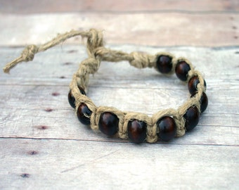 Surfer Macrame Hemp Bracelet Natural With 10 Wood Beads