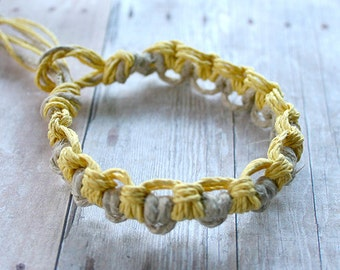 Surfer Thick Hemp Bracelet Or Anklet Interlocking Knots Natural Yellow
