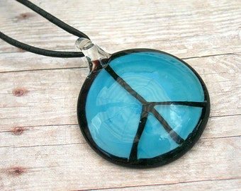 Leather Necklace with Glass Peace Sign