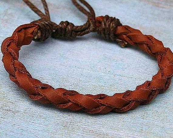 Brown Leather Mens Wrap Braided Adjustable Bracelet Surfer Style