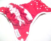 Ready to Ship, One Size Red and White Ruffle Bum PUL Pocket Diaper with Organic Bamboo Velour Inner