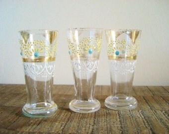 Set of Three Bohemian Czech Cordial Glasses