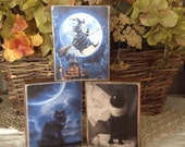 Set of 3 Primitive Halloween Wood Blocks featuring black cats and witch  OFG HAFAIR Statteam TeamVintageUSA