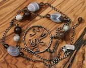 SOLD One of a Kind, Botswana Banded and Swirl Necklace