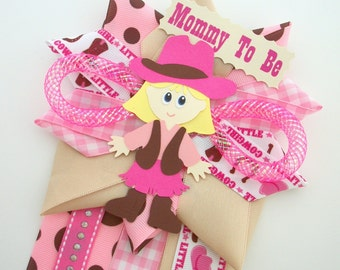 Pink Cowgirl Baby Shower Corsage - Western Girl Mommy To Be Mum - Ready To Ship - Sale