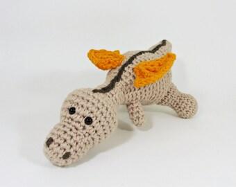Amigurumi baby dragon crochet baby rattle stuffed toy - organic cotton - beige, orange and brown