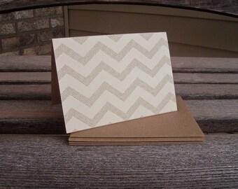 Chevron Note Cards - Kraft Chevron Stationery Set, Chevron Stripes Ivory Beige Kraft Paper Card Set, Modern Rustic Thank You Notes