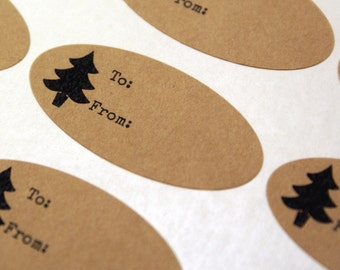 27 Christmas labels with tree - Kraft Brown Oval Stickers with TO & FROM - for gift tags, labeling, Christmas presents