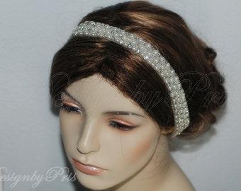 Bridal Headpiece.Wedding Accessories.Bridal Rhinestone Headband.Bridal Rhinestone and Natural White Pearls Headband