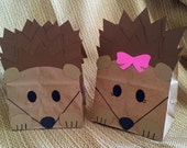Hedgehog Treat Sacks - Woodland Forest Critter Porcupine Valentines Theme Birthday Party Favor Goody Bags by jettabees on Etsy
