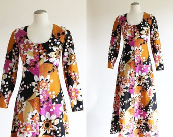 70s dress - 1970s maxi dress - orange vintage abstract floral print dress - xsmall small