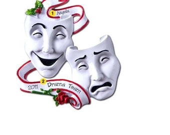 Personalized Christmas Ornament Theatre Masks, Acting , Drama , Performing Arts, Plays, Artist- Teacher gift