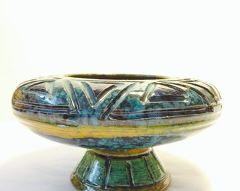 Vintage 60s Raymor Bitossi Italian PEDESTAL mid century modern pottery art vase Aldo Londi