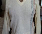 Pale Yellow Rainbow Stripe Vintage Acrilan Rockabilly Sweater