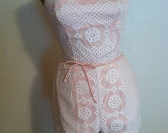 White Lace over Pink Vintage ROSE MARIE REID Swim Play Suit S