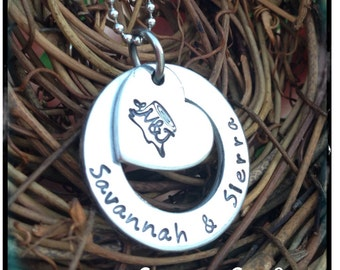 Personalized Hand Stamped Giving Tree Stump Initial necklace