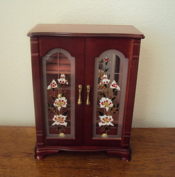 Vintage Wood Jewelry Armoire Box Painted Glass Double Doors