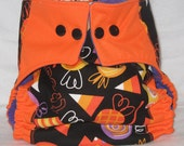 Trick o' Treats Halloween Embellished PUL Cloth Pocket Diaper Snaps