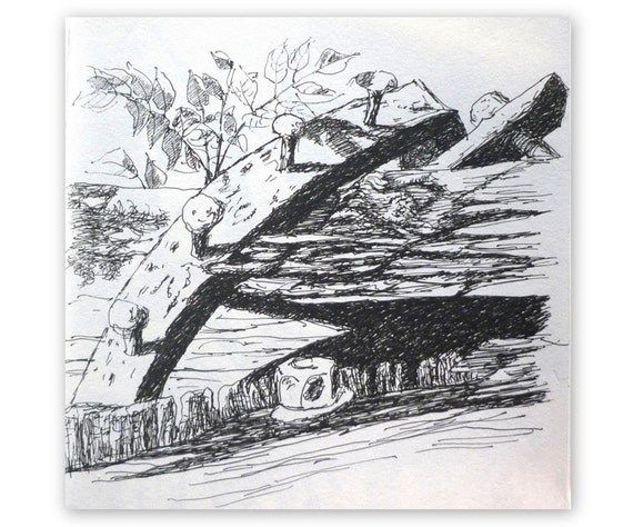 Ink drawing 'Old iron and wood' black ink
