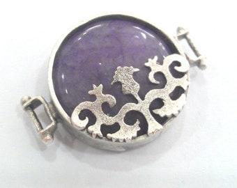 1 Pc  (22 mm) Purple Connectors , Antique Silver Plated Brass  Bezels G1199