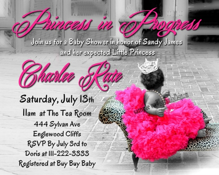 princess tutu and leopard baby shower invitation digital file, Baby shower invitations