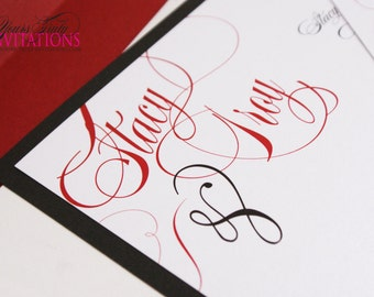 Timeless Script Invitation Suite shown in red and black