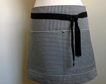Half Apron Woman Japanese Denim Black Stripes Restaurant  Apron Deco Pattern