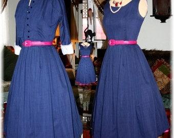 Vintage 50s Navy w white trim  Blue Full Circle I Love Lucy Sexy Swing Dress w Bolero Jacket