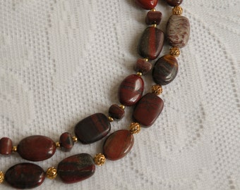 Red Rainbow Jasper Double-Strand Necklace