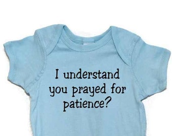 Funny Baby Bodysuit/ One Piece/ Light Blue /Black ink/ Patience