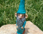 Ooak Garden Gnome- Miniature Handmade Clay Male Gnome for gnome or fairy gardens