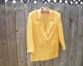 Fall V i n t a g e Mustard Blazer and Pearl Necklace, Blazer, Mustard Blazer, Yellow Blazer